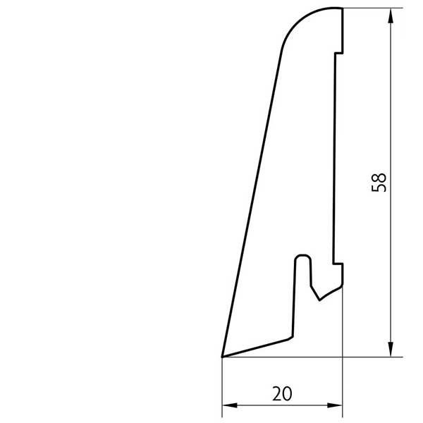 Laminat Sockelleiste foliert mit MDF-Kern Valley Eiche rauch 17x60x2400mm