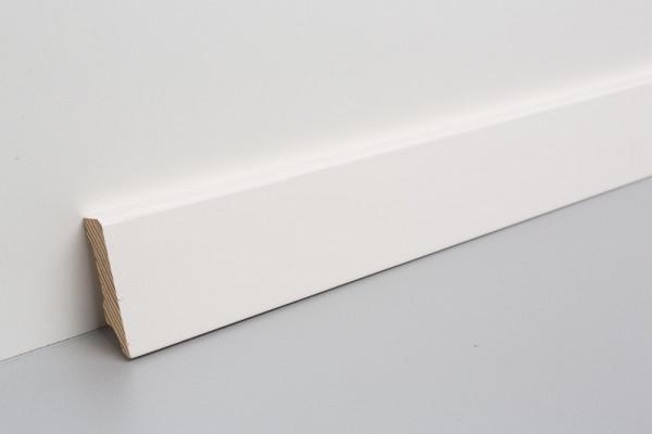 Sockelleiste massiv MKM 50 Kiefer weiß lackiert, RAL 9010, 15x50x2400/2700mm