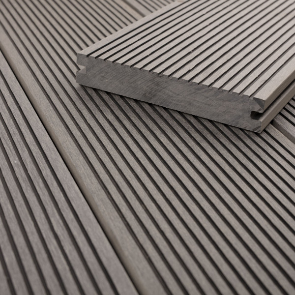 FANO WPC Terrassendiele massiv Titangrau, glatt / fein gerillt