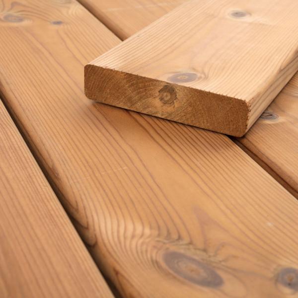 FANO Holz Terrassendiele Thermo-Kiefer, glatt, teak-geölt, 4200 bis 5100 mm