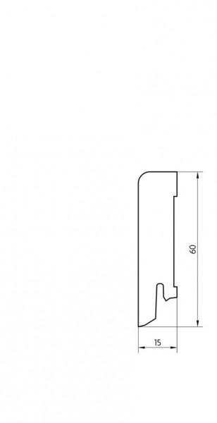 Sockelleiste furniert MKF 60 Esche lackiert 16x60x2500mm