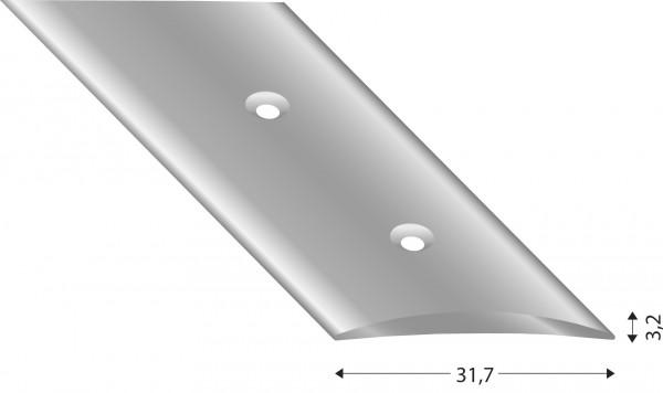 Übergangsprofil flach halbrund 3.2 mm silberfarben, versenkt gebohrt