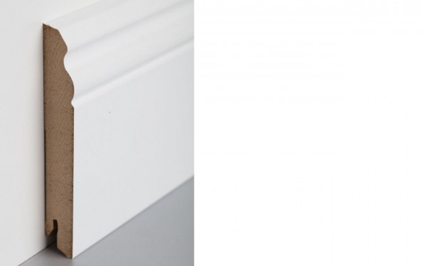 Bodenleiste foliert MDF 120 weiß überstreichbar