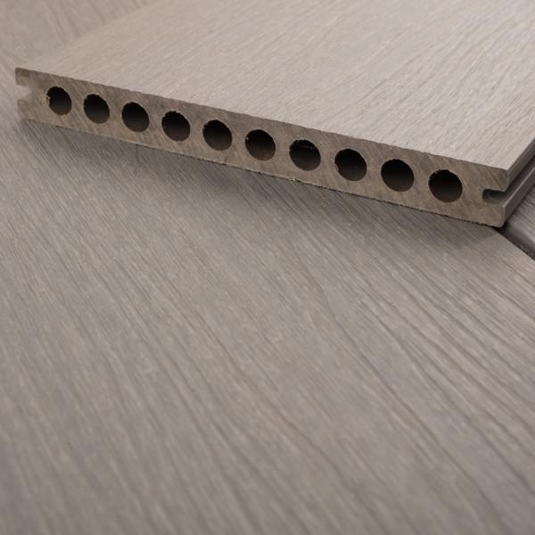 FANO WPC UltraShield XL Terrassendiele Hohlkammer mit Schutzmantel Basaltgrau, gebürstet