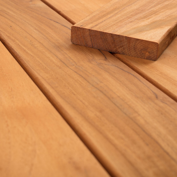FANO Holz Terrassendiele Teak, braun-geoelt, glatt 1070 bis 2420 mm