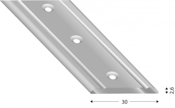 Übergangsprofil flach 2.6 mm silberfarben, versenkt gebohrt