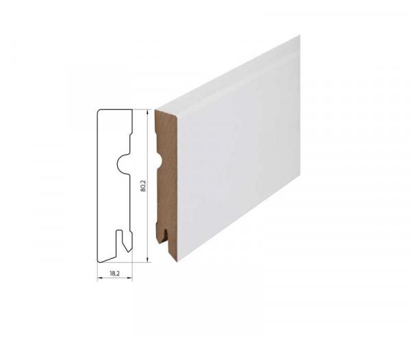 Sockelleiste foliert MDF 80 weiß überstreichbar 18x80x2400mm