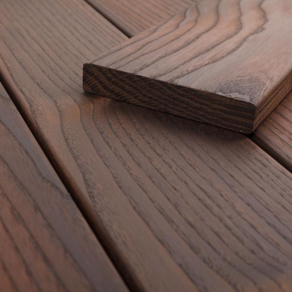 FANO Holz Terrassendiele Thermoesche, Teak-farbgeoelt, glatt 1800 bis 2700 mm