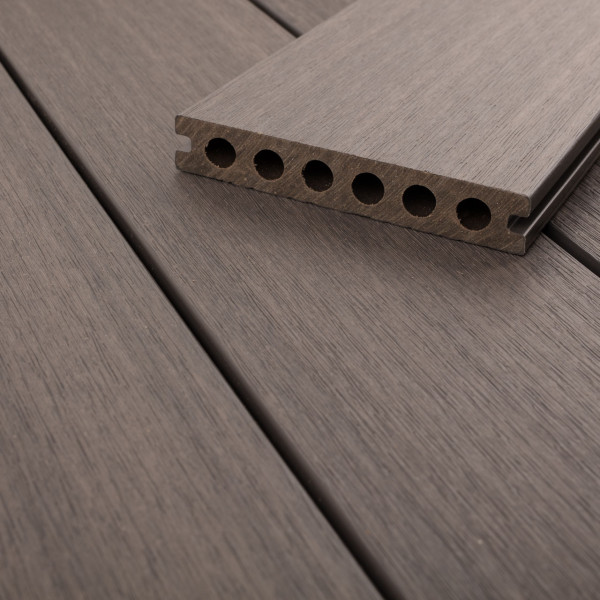 FANO WPC UltraShield 360 Terrassendiele Hohlkammer mit Schutzmantel Silbergrau, gebürstet